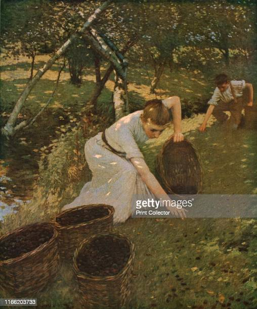 Gathering Plums' A young woman and boy fill baskets with fallen fruit in an orchard with a stream running through it Painting in the Manchester Art...