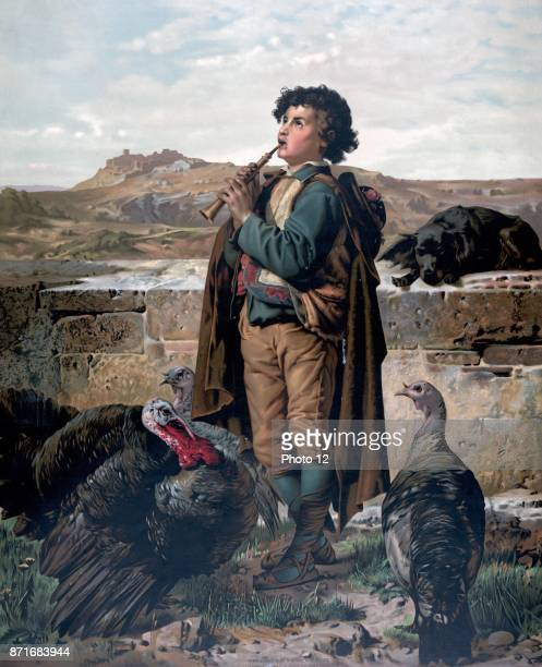 Gathering the flock by F Steinmann c1873 Print shows a young boy playing a recorder or pipe with wild turkeys at his feet and a dog resting on a...