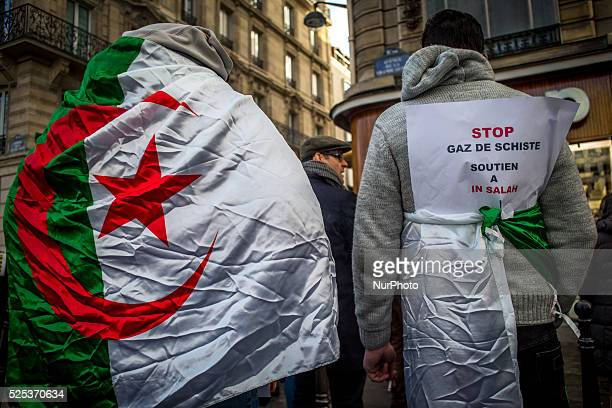Gathering took place on February 24 2015 in Paris near the algerian consulat it was against the fracting shale gas in south algeria a demonstrator...