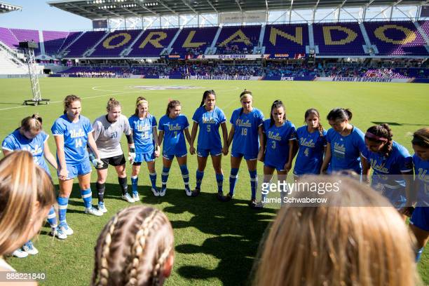 UCLA gathers prior to the Division I Women's Soccer Championship held at Orlando City SC Stadium on December 3 2017 in Orlando Florida Stanford...