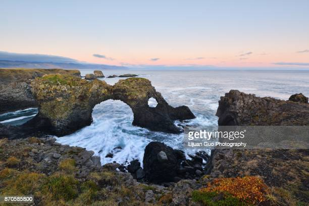 Gatklettur at autumn sunset, an  Arch Rock in west Iceland