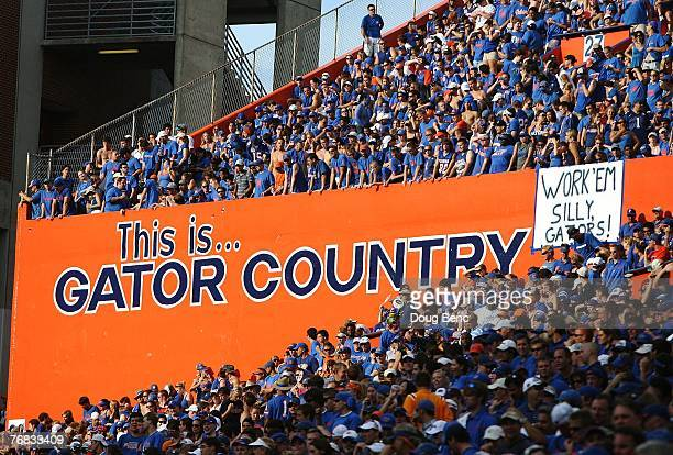 Gator fans cheer as the Tennessee Volunteers take on the Florida Gators at Ben Hill Griffin Stadium on September 15, 2007 in Gainesville, Florida....