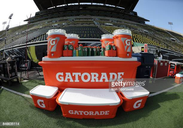 Gatorade bottles and coolers on the sideline prior to the start of the game during a college football game between the Nebraska Cornhuskers and...
