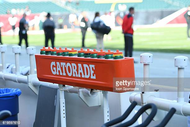 Gatorade bottles are on the Cincinnati Bearcats bench during an NCAA football game between the Cincinnati Bearcats and the Temple Owls on October 29...