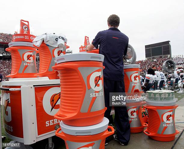 Gatorade containers line the sidelines behind the Auburn bench in the fourth quarter of a NCAA college football game on September 8 2012 at Davis...