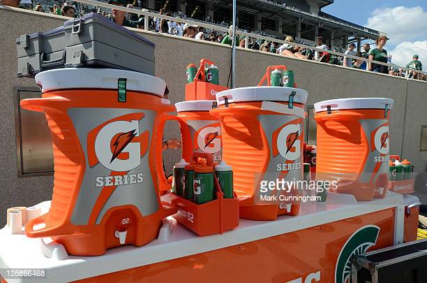 Gatorade containers sit on the sidelines during the game between the Michigan State Spartans and the Florida Atlantic Owls at Spartan Stadium on...