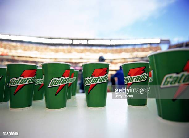 Gatorade cups on the sideline during the game between the Philadelphia Eagles and the Dallas Cowboys at Lincoln Fiancial Field on December 7 2003 in...