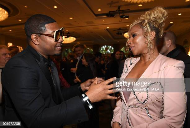 Gatsby Randolph and Mary J Blige attend The BAFTA Los Angeles Tea Party at Four Seasons Hotel Los Angeles at Beverly Hills on January 6 2018 in Los...