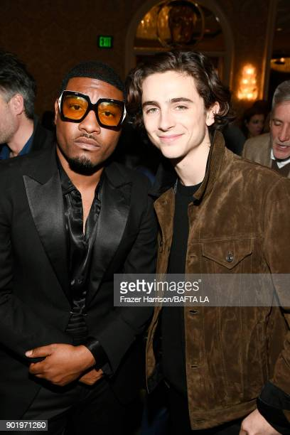 Gatsby Randolph and Timothee Chalamet attend The BAFTA Los Angeles Tea Party at Four Seasons Hotel Los Angeles at Beverly Hills on January 6 2018 in...