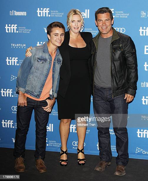 Gattlin Griffith Kate Winslet and Josh Brolin attend the 'Labor Day' press conference during the 2013 Toronto International Film Festival held at...
