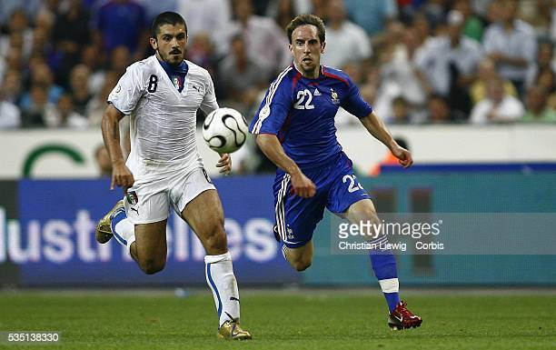 Gattuso of Italy and Willy Sagnol of France during the Euro 2008 qualification match between France and Italy in Paris France