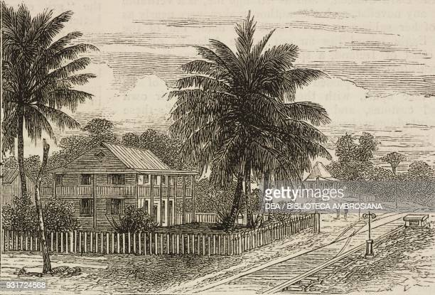 Gatun station along the Panama Railway the isthmus of Darien Panama illustration from the magazine The Graphic volume XV no 381 March 17 1877