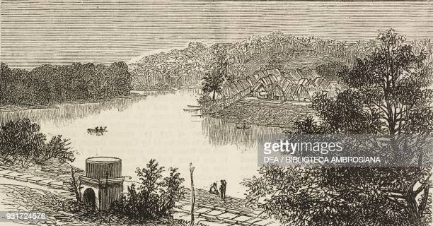 Gatun village and the river Chagres along the Panama Railway the isthmus of Darien Panama illustration from the magazine The Graphic volume XV no 381...