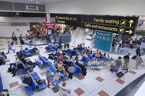 Gatwick airport departure lounge and direction signs