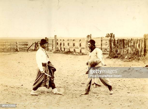 A Gaucho fight with skinning knives Argentina 1900