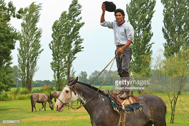 gaucho standing on horseback with hat in hand - argentina stock pictures, royalty-free photos & images