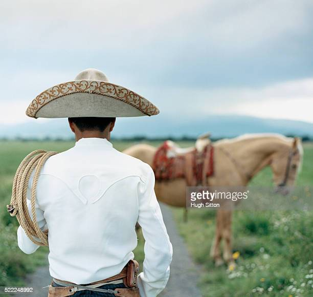 gaucho with horse in field - mexican fiesta stock pictures, royalty-free photos & images