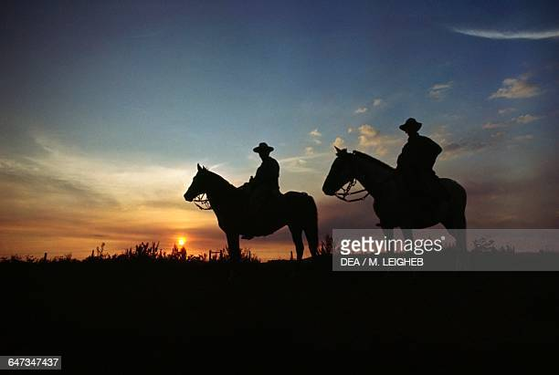 Gauchos in the southern grasslands at sunset Paraguay