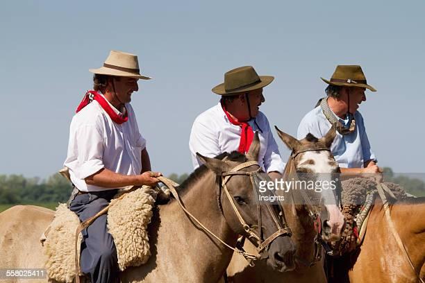 Gauchos on horses Estancia Santa Susana Los Cardales Provincia de Buenos Aires Argentina