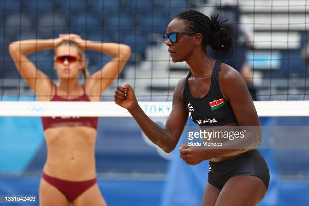 Gaudencia Makokha of Team Kenya celebrates against Team Latvia during the Women's Preliminary - Pool D beach volleyball on day eight of the Tokyo...