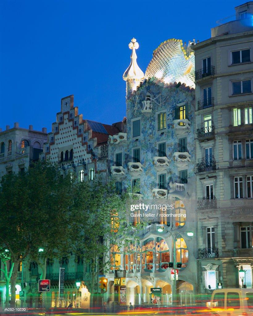 Gaudi architecture, Casa Batllo, Barcelona, Catalunya Catalonia Cataluna, Spain, Europe : Foto de stock
