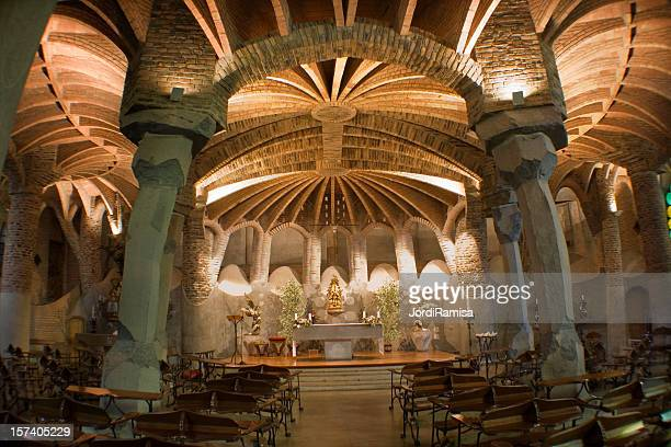 gaudi's central vault - crypt stock photos and pictures