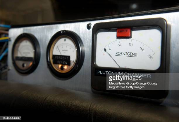 Gauge for the plutonium chamber sits on the dash in a replica of the DeLorean time machine from the Back to the Future movies. Plutonium is what...
