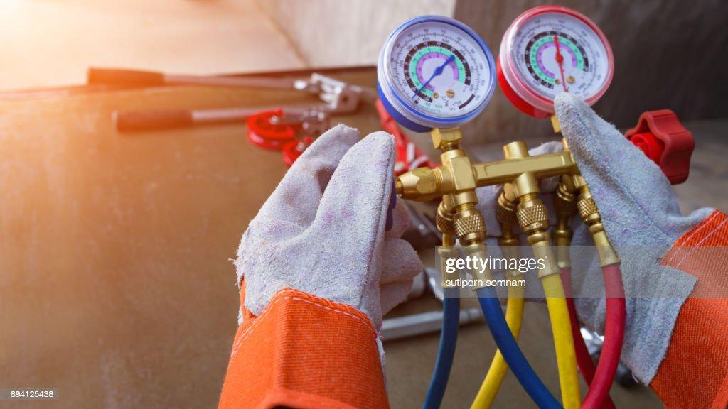 Gauge or meter Tools for repairing air : Stock Photo