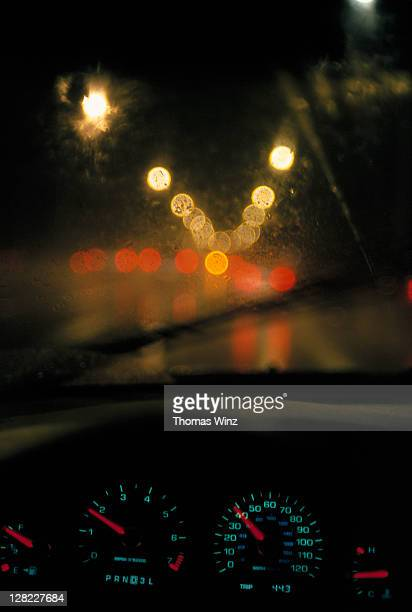 gauges in automobile panel w/ road view ahead - auto repair shop exterior stock pictures, royalty-free photos & images