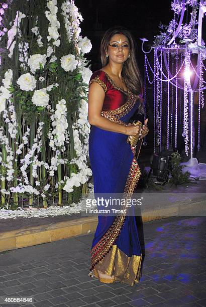 Gauri Khan wife of Bollywood actor Shahrukh Khan during sangeet ceremony of Riddhi Malhotra and Tejas Talwalkar on December 13 2014 in Mumbai India...