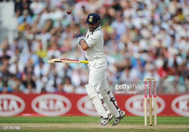 Gautam Gambhir of India avoids a bouncer during day five of the 4th npower Test Match between England and India at The Kia Oval on August 22 2011 in...