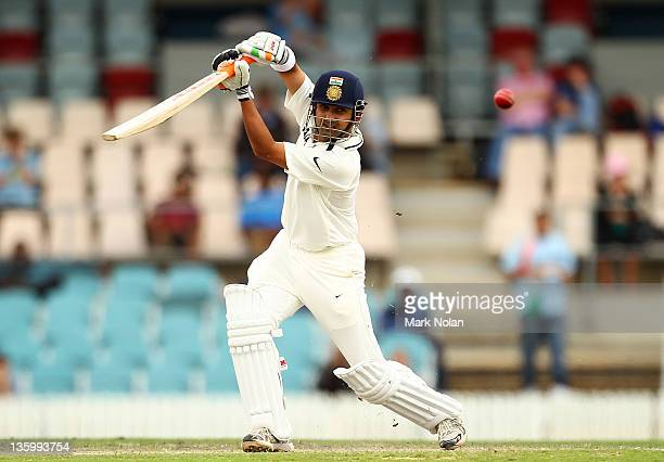 Gautam Gambhir of India bats during day two of the International Tour match between India and the Cricket Australia Chairman's XI at Manuka Oval on...