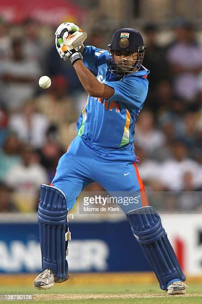 Gautam Gambhir of India bats during game four of the One Day International Series between Australia and India at Adelaide Oval on February 12 2012 in...