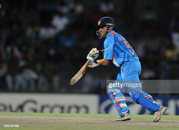 Gautam Gambhir of India bats during the ICC World Twenty20 2012 Super Eights Group 2 match between South Africa and India at R Premadasa Stadium on...