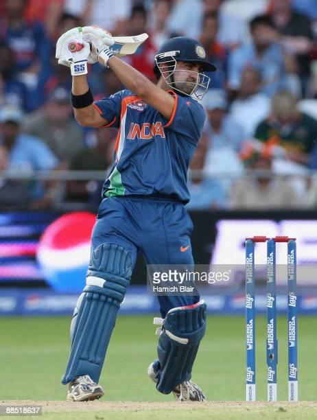 Gautam Gambhir of India gets some runs during the ICC World Twenty20 Super Eights match between South Africa and India at Trent Bridge on June 16...