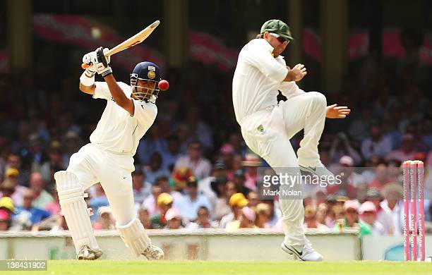 Gautam Gambhir of India hits Ricky Ponting of Australia as he fields in close during day three of the Second Test Match between Australia and India...
