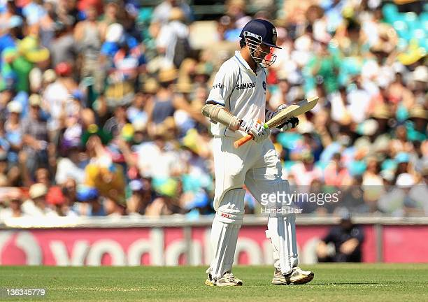 Gautam Gambhir of India leaves the field after being dismissed during day one of the Second Test Match between Australia and India at Sydney Cricket...