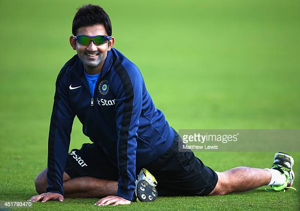 Gautam Gambhir of India looks on during a India nets session at Trent Bridge on July 7 2014 in Nottingham England