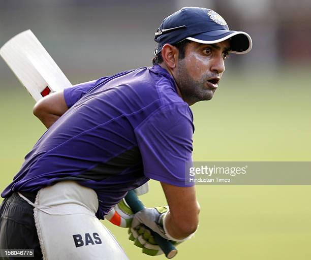 Gautam Gambhir of India plays a shot during practice session at Brabourne stadium on November 9 2012 in New Delhi India India will play Test series...