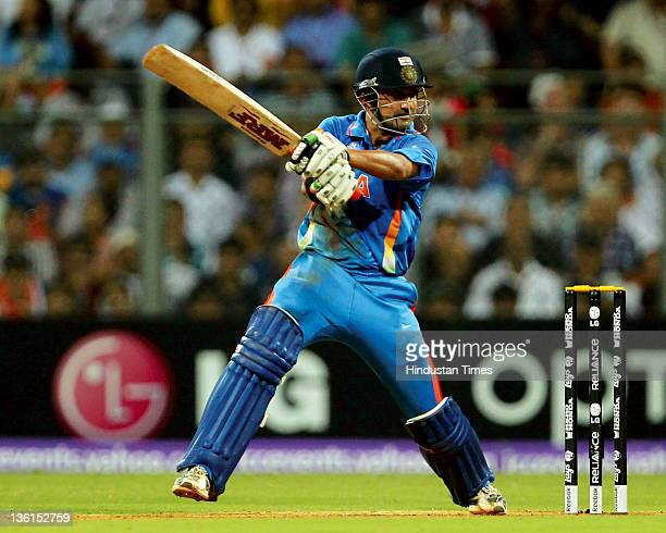 Gautam Gambhir of India plays a shot during the 2011 ICC World Cup final between India and Sri Lanka at Wankhede stadium in Mumbai, India on April 2,...