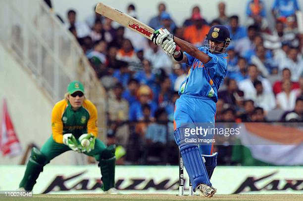 Gautam Gambhir of India swings during the Group B ICC World Cup Cricket match between India and South Africa at Vidarbha Cricket Association Ground...