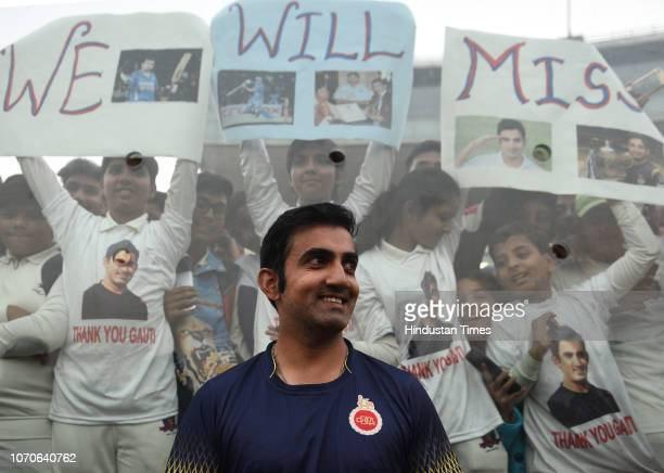 Gautam Gambhir poses for photos with his fans on the last day of Ranji Trophy group league match between Delhi and Andhra at Feroz Shah Kotla Ground...