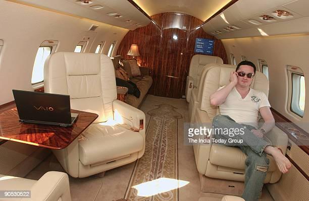 Gautam Singhania Chairman and Managing Director of Raymond Ltd Sitting in his Challenger 604 Aeroplane in Mumbai Maharashtra India