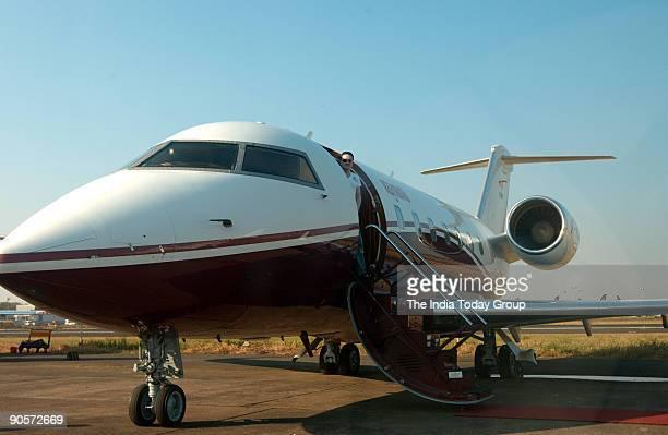 Gautam Singhania Chairman and Managing Director of Raymond Ltd with his Challenger 604 Aeroplane in Mumbai Maharashtra India