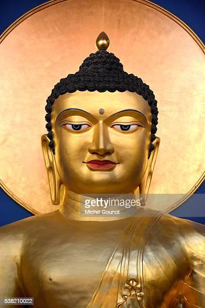 gautama siddharta, sakyamuni buddha statue in lerab ling buddhist monastery - buddha stock pictures, royalty-free photos & images