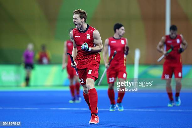 Gauthier Boccard of Belgium celebrates scoring Argentina goal during the Men's Hockey Gold Medal match between Belgium and Argentina on Day 13 of the...