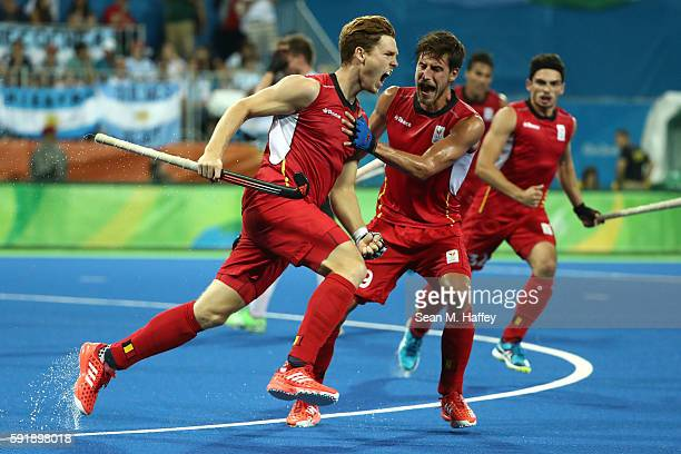 Gauthier Boccard of Belgium celebrates scoring during the Men's Hockey Gold Medal match between Belgium and Argentina on Day 13 of the Rio 2016...