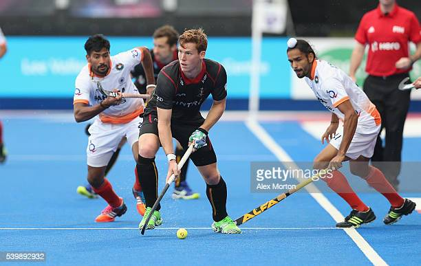 Gauthier Boccard of Belgium during the FIH Mens Hero Hockey Champions Trophy match between Belgium and India at Queen Elizabeth Olympic Park on June...