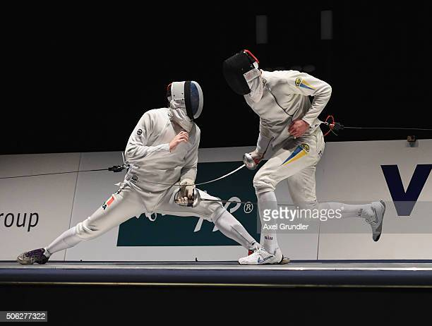Gauthier Grumier of France and Bogdan Nikishin of Ukraine compete in the Men's Epee Individual Finale during the Fencing World Cup 2016 at Congress...