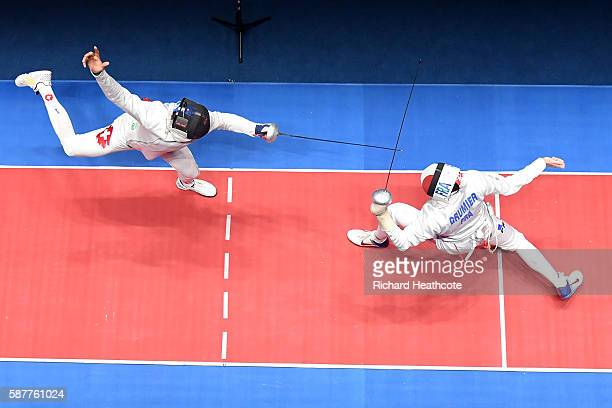 Gauthier Grumier of France in action against Benjamin Steffen of Switzerland during the bronze medal bout in the Men's Epee Individual on Day 4 of...